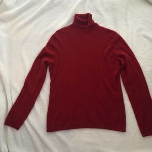 Lord and Taylor Red Cashmere Turtleneck